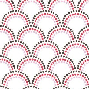 Scallop Dots in red pink brown