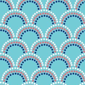Scallop Dots in Aqua and nautical