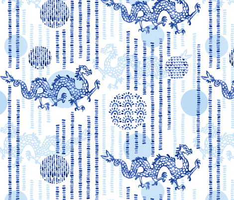 DragonsAndLanterns fabric by beckarahn on Spoonflower - custom fabric