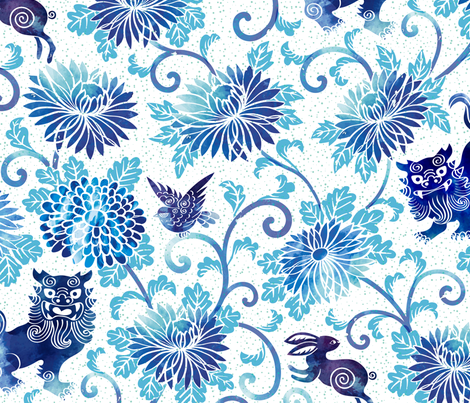 The Guardian Fu Dog of Garden fabric by meliszawang on Spoonflower - custom fabric