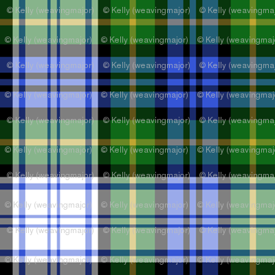 Gordon dress tartan, modern colors, 1""