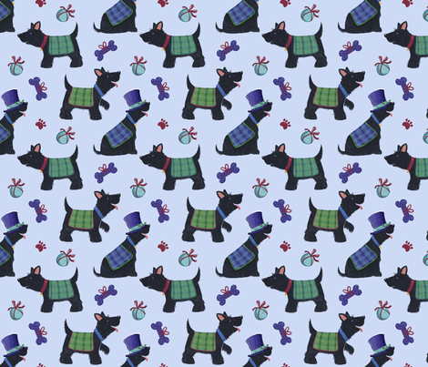 Scottish Scottie Dogs & Tartan Coats fabric by dalesimpsondesign on Spoonflower - custom fabric