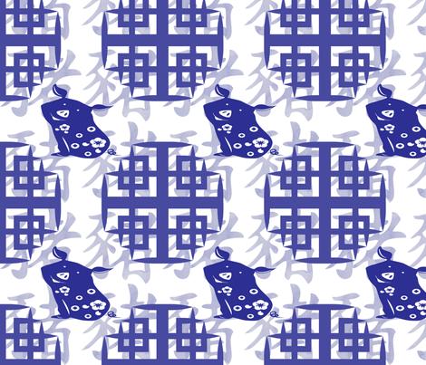 Year of the pig-2019 fabric by krystalsavage on Spoonflower - custom fabric