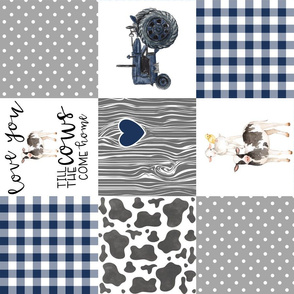 Farm//Love you till the cows come home//I will always love ewe// - wholecloth cheater quilt - Rotated