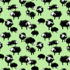 Wee Flock Grazing on Spring Green