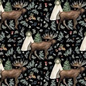 """4"""" Boho Christmas Moose Black"""