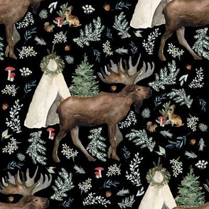 """8"""" Boho Christmas Moose Black"""