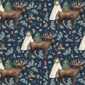 """4"""" Boho Christmas Moose Dark Steel Blue"""
