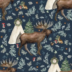 """8"""" Boho Christmas Moose Dark Steel Blue"""