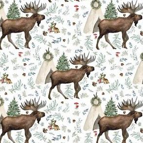 """4"""" Boho Christmas Moose White"""