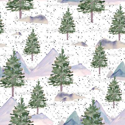"""4"""" Winter Tree Scene Dark Steel Blue Dots"""