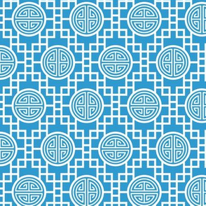 Chinese geometrics Sky Blue Small