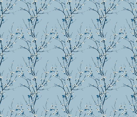 Blue Blossoms fabric by the_outfoxed on Spoonflower - custom fabric