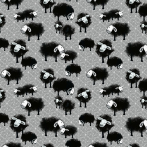 Wee Flock Grazing on Gray