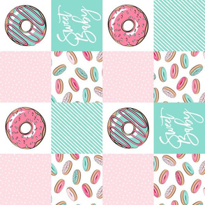 "(3"" small scale) Sweet baby donut patchwork - pink and teal (90) C18BS"