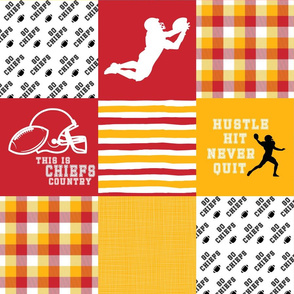 Football//Hustle Hit Never Quit//Chiefs - Wholecloth Cheater Quilt
