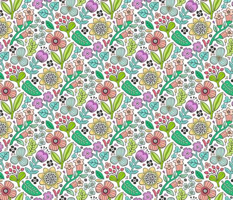 Garden Florals Peach Purple on white fabric by caja_design on Spoonflower - custom fabric