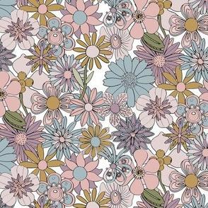 Chelsea (Mustard, Pink & Blue) || vintage 60s 70s enamel pin brooch flower floral garden pastel sheet illustration spring summer bouquet