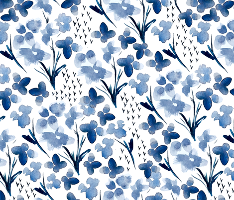 Watercolor Blues { Mid Size } fabric by mintedtulip on Spoonflower - custom fabric