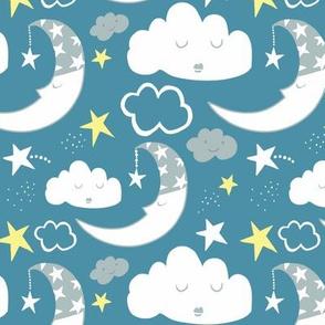 Nursery Moon Clouds (Blue)
