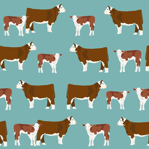 LARGE - hereford cattle and cow fabric - blue