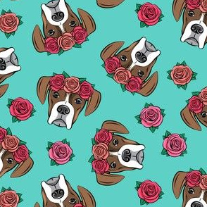 boxer  - floral crowns - flash on teal