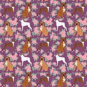 SMALL - Boxer dog florals fabric pattern rose amethyst