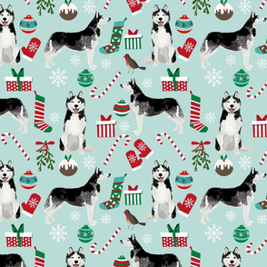 LARGE - husky christmas fabric cute husky design best husky fabrics siberian huskies cute dogs