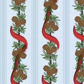 Pine Puff & Red Ribbon Stripe: Retro Christmas Print