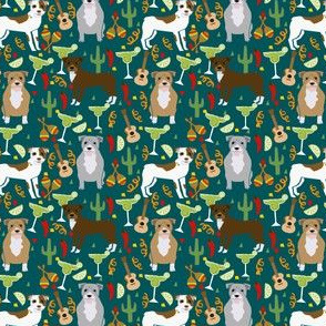 SMALL - pitbull fiesta party fabric - margarita party cinco de mayo design - dark green