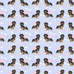 SMALL - dachshund unicorn fabric, cute dachshund fabric, pastel fabric, unicorn fabric, dog fabric, dog breed fabric - purple