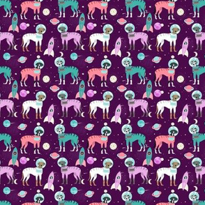 SMALL - Great Dane astronaut fabric - cute dogs in space fabric, dogs in space, dog illlustration, great dane fabric, cute great danes - purple