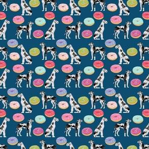 SMALL - great dane donut fabric - cute great dane fabric, donuts fabric, donut fabric, great dane fabric, harlequin great dane, dog breeds fabric - navy