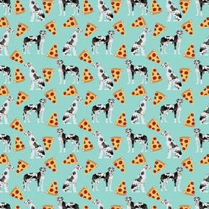 SMALL - great dane pizza fabric - great dane fabric, pizza fabric, cute dog fabric, harlequin great dane, food fabric, pet friendly fabric, dog breeds fabric - mint