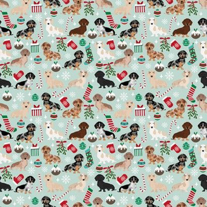 SMALL - Dachshund christmas fabric - doxie fabric, christmas fabric, christmas dog fabric, dog christmas fabric, christmas fabric - light
