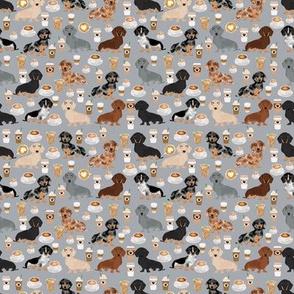 SMALL - dachshund coffee fabric - doxie fabric, dachshund fabric, coffee fabric, coffee latte fabric, doxie dog fabric, cute dog fabric, dog fabric, dog breeds fabric - grey