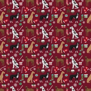 SMALL - Great Dane christmas fabric - cute dog fabric, great dane christmas fabric, dog christmas fabric, dog fabric, christmas fabric, holiday fabric, dog breeds fabric - burgundy