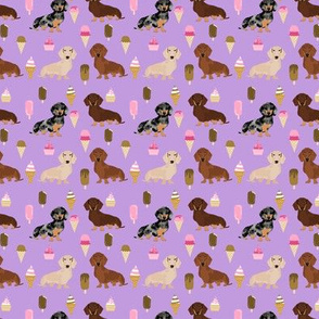 SMALL - dachshund ice cream fabric  - doxie ice cream fabric, doxie fabric, dachshund fabric, ice creams fabric, ice-creams fabric - purple