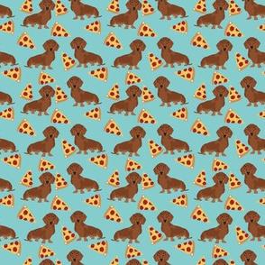 SMALL - dachshund pizza fabric - dachshund fabric, doxie fabric, pizza fabric, food fabric, junk food fabric, - mint
