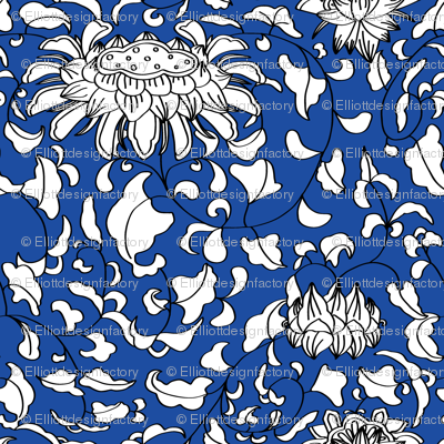 Chinoiserie Vines in White + Navy Blue