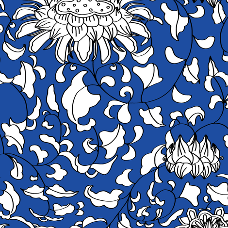 Chinoiserie Vines in White + Navy Blue fabric by elliottdesignfactory on Spoonflower - custom fabric