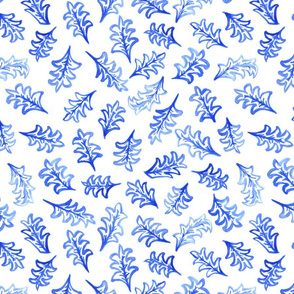 Falling leaves in blue and white