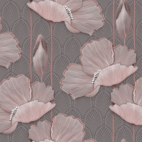 Art Deco Poppies BLUSH