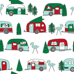 LARGE - christmas camper fabric, holiday xmas fabric, vintage camper fabric, cute christmas fabric