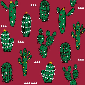 LARGE - christmas cactus fabric, cactus fabric, cacti fabric, christmas fabric, holiday fabric, cute fabric, andrea lauren fabric