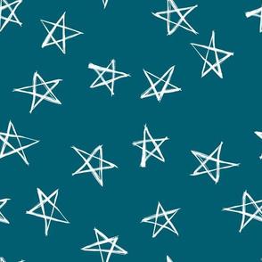 ditsy scribble stars on lagoon