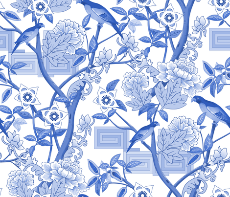 Parrots and Peonies Chinoiserie Blue fabric by vinpauld on Spoonflower - custom fabric