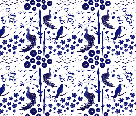 Chinese garden fabric by liudmilakopecka on Spoonflower - custom fabric