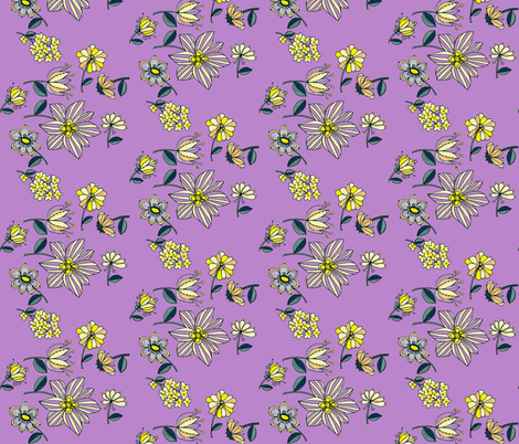 Teal multi floral-lilac fabric by unclemamma on Spoonflower - custom fabric
