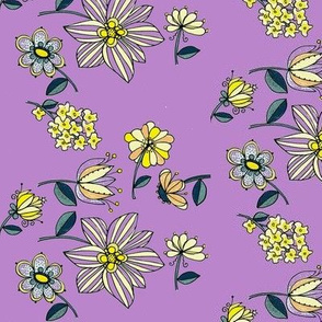 Teal multi floral-lilac